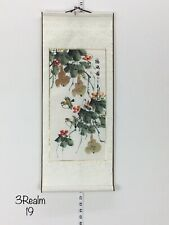 """Feng Shui 2 Birds & Flowers Chinese Hand Painting Paper Scroll Silk 28"""" 11.5"""""""