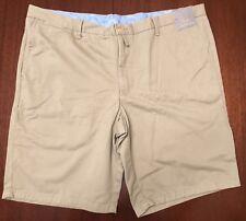 "NEW TD Thomas Dean Men's Size 38 x 9 1/2"" Flat Front Khaki 100% Cotton Short TAN"