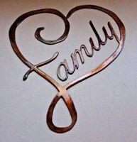 "Family Heart Metal Wall Art Decor 12"" x 10 1/4"" copper/bronze"