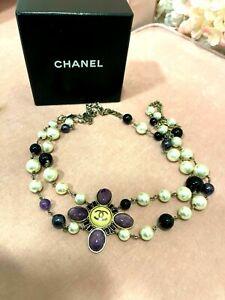 Chanel Vintage 06C Gripoix Pearl Chain Belt  Necklace Purple Gold