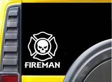 Fireman Skull K329 6 inch decal Maltese cross sticker