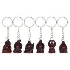Set of 6 Resin Lucky,Happy,Laughing  Buddhas~Keyrings~Feng-Shui~uk seller