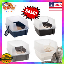 Enclosed Cat Litter Box Extra Tall High Sided Open Top Large Scoop Kitty Pan Usa
