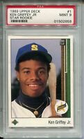 1989 Upper Deck Baseball #1 Ken Griffey Jr Rookie Card RC Graded PSA MINT 9