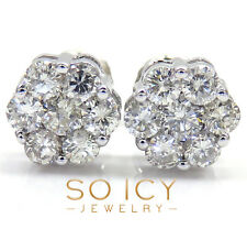 1.85 ct VS2 Clairty 14K White Gold Round Diamond Cluster Earrings Mens Ladies