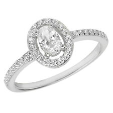 Zirconia Ring, Size N (7436) * Sterling Silver Halo Oval and Round Cubic