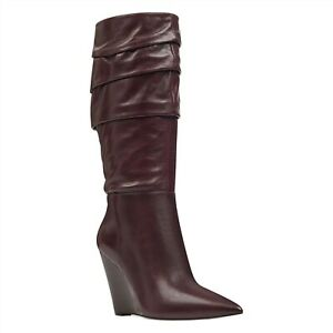 "NINE WEST - VERNESE, Garnet GENUINE leather knee high boots, 4"" wedge heel SZ 8"