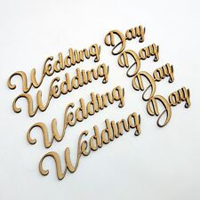 Wedding day Word Cutout 5 pack MDF Laser Cut Wooden Craft Blank  guestbook shape