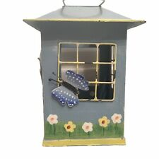 Metal Hanging Candle/votive Holder - House - Gazebo - Butterflies - Blue Green