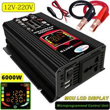 6000W Power Inverter DC 12V to AC 220V Car Sine Wave Converter 2 USB Modified UK