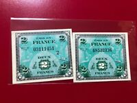 LOT OF TWO!!! 1944 France Allied Military Currency 2 Francs France  Flag