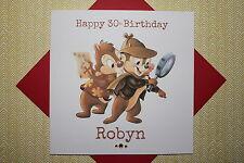Handmade Personalised Retro Chip 'N Dale Rescue Rangers Birthday Card 30 35 40