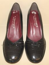 A. Giannetti Womens Heels Size 6.5 B Black Leather Croc Embossed Pumps Italy