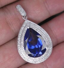 14KT White Gold 2.00Ct Natural Blue Tanzanite EGL Certified Diamond Pendant