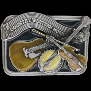 Country Band Western Cowboy Bluegrass Music Guitar Gift NOS Vintage Belt Buckle