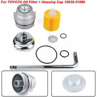 For TOYOTA Oil Filter + Housing Cap 15620-31060 WITH CAP PLUG AND WRENCH SILVER