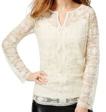 INC Womens Blouse Size Small $89 Tunic Top Ivory Lace Split Neck Long Sleeves