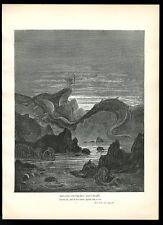 1884 Gustave Dore Paradise Lost leviathan sea serpent art vintage print