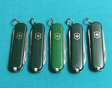 Lot of 5 Victorinox Swiss Army Knives - Green Classic SD Mix - Multi Tools Logos