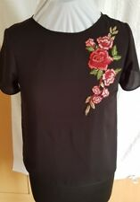 Womens New Look Red Floral Embroidered Top. Black. Size 6. New with Tags