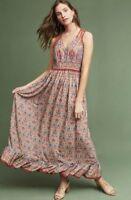 Ranna Gill Maxi Dress red blue tan Floral Ruffle Hem Fit Flare V Neck 6 NEW