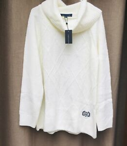 TOMMY HILFIGER Women's Ivory Mixed Knit Pullover Cowl Neck Sweater Top XL $80