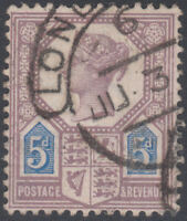 1887 JUBILEE SG207 DIE1 5d PURPLE AND BLUE VERY FINE USED LONDON HOODED OVAL