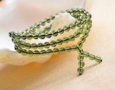 Green GEM MOLDAVITE Meteorite Impact Glass 7mm*108Pcs Round Bead Bracelet