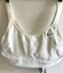 New Nike Swift Running Bra Sports Bra Dri-Fit White Size SB/C Swoosh High Impact
