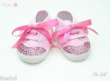 Pink Rhinestone Crystal Cotton shoes with lace 6 - 12 Months Baby Girls