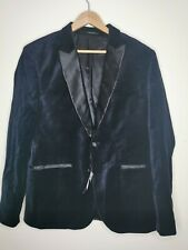 H&M men's velvet blazer black one button size 44 R