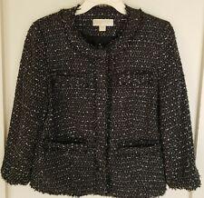 Michael Kors Gray Black White Tweed Fringe Collarless Blazer Jacket Size 8