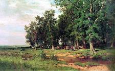 Oil painting Shishkin Ivan Ivanovich Russia artist - At mowing in an oak grove