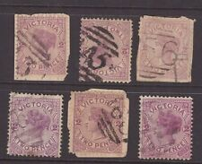 Victoria numeral cancel group on 6 x QV issues