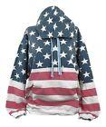 vintage red and blue women's hoodie Issac Designs patriotic American Flag Sz M