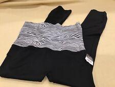 New L XL Foldover Black White Zebra Stripe Waistband Capri Cropped Leggings