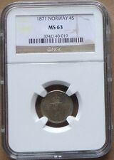 1871 NORWAY SILVER Coin 4 Skilling NGC  MS-63 , KM# 337 - SCARCE GRADE