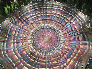 Fenton PLAID ANTIQUE CARNIVAL ART GLASS RUFFLED BOWL~BLUE~SCARCE & VERY PRETTY!