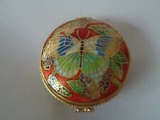 """CHINESE CLOISONNE RED ENAMEL PILL / TRINKET BOX """"BUTTERFLY"""""""