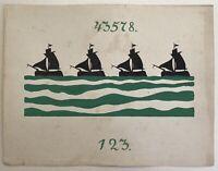 Jugendstil Entwurf Skizze Studie 123 Art-Nouveau Segelschiffe Fliesen Bordüre?