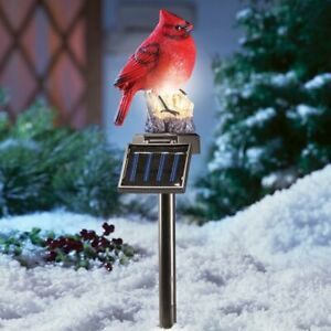Solar Powered Lighted Colorful Cardinal Garden Sculpture Stake