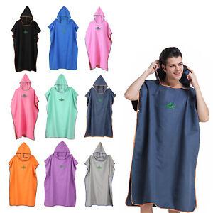 Men Women Changing Robe Towel Bath Hooded Quick Dry Beach Towel Poncho Bathrobe