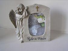 Engel neben Rahmen für Foto, Poly-Grabschmuck, Ruhe in Frieden, Engel, Grabdeko