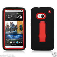 HTC One (M7) Hybrid S Armor Hard Case Skin Cover w/Stand Black Red A