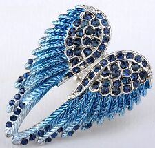 Angel Wings Stretch Ring Crystal Rhinestone Bling Jewelry Royal Blue RD01