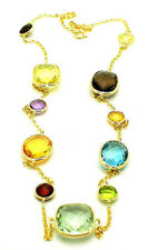 14K Yellow Gold Necklace With Checkerboard Cut Gemstones By The Yard 18 Inches