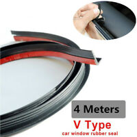 V-Type 4M Car Side Windows Anti-Aging Noise Isolation Rubber Seal Strips w/Gum