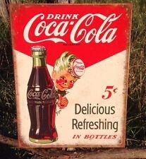 COKE Coca Cola Sign Tin Vintage Garage Bar Decor Old Refreshing SPRITE BOY
