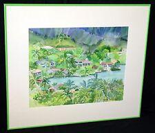 "1990s Hawaii WC Painting ""Windward Oahu Bay View"" by Nancy Foncerrada (MoJ)"