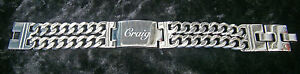 Men Large ID bracelet personalised stainless steel engraved name gift birthday